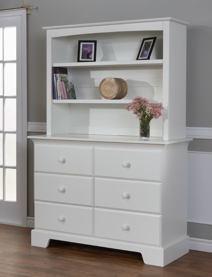The Hutch in White, on the top of a Volterra Double Dresser.<br>