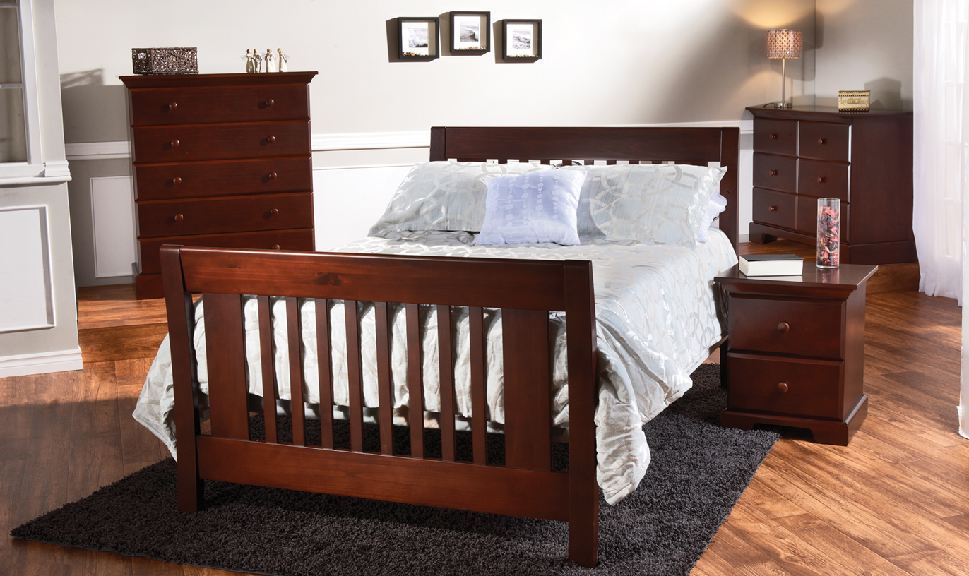 <b>Emilia Full-Size Bed</b> with a Volterra 5 Drawer Dresser, a Double Dresser and Nightstand , all shown in Vintage Cherry (color not available).
