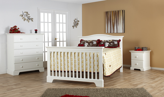 <b>Volterra Full-Size Bed</b> with a 1205 Volterra 5 Drawer Dresser and a 1214 Volterra Nightstand, all shown in White  (finish not available)..
