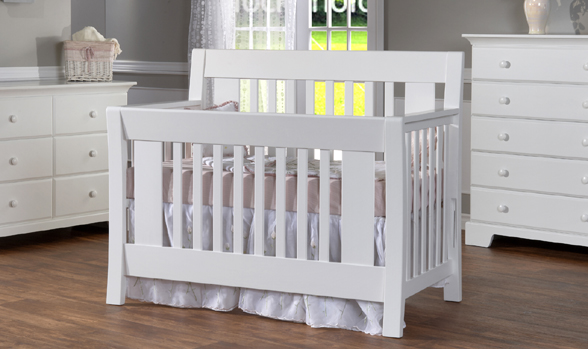 Emilia And Gardena Nursery In White (4 Pcs) Floor Models, Never Used, As Is  In White. 4 Pcs: Convertible Crib, Double Dresser, 5 Drawer Dresser And  Mirror.